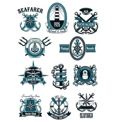 Vintage nautical badges with marine items vector image