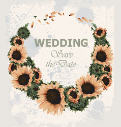 vintage wedding invitation with sunflowers wreath vector image