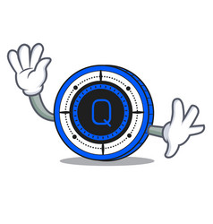 waving qash coin character cartoon vector image