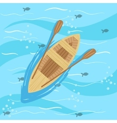 Wooden Boat With Blue Sea Water On Background vector image