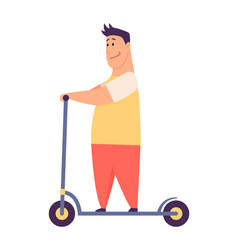 young handsome man riding an scooter modern vector image