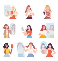 young women standing in front mirror set girls vector image