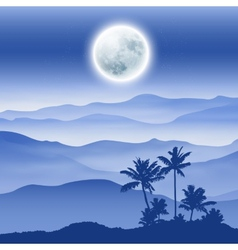 Background with fullmoon palm tree and mountains vector image vector image
