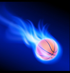burning basketball on blue fire vector image