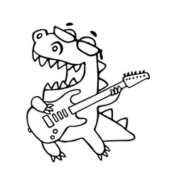 Dragon playing the electric guitar in black vector