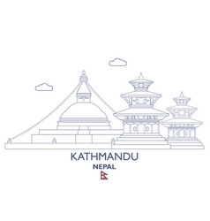 kathmandu city skyline vector image vector image
