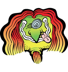 Smiling hippy with crazy hair vector
