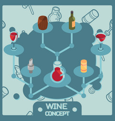 wine color isometric concept icons vector image