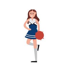 happy cheerleader girl cartoon character sport vector image
