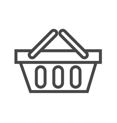 shopping basket thin line icon vector image
