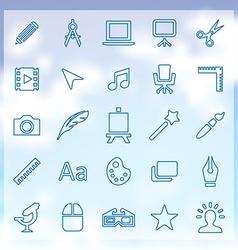 25 art design icons set vector image