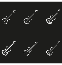 Electric guitar icons music signs vector image