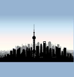 shanghai city skyline chinese urban landscape vector image