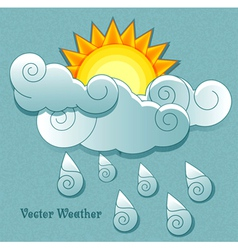 Sun behind the clouds and rain drops vector image