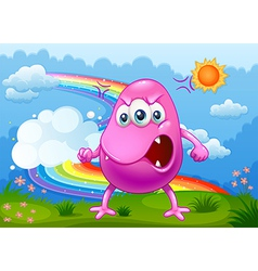 An angry monster with a rainbow in the sky vector image vector image