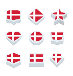 Denmark flags icons and button set nine styles vector