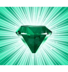 Diamond on a green background vector image vector image