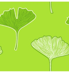 Ginkgo seamless interior wallpaper - fresh green vector image