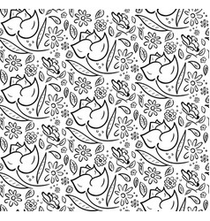 monochrome hand drawn floral pattern vector image vector image