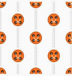 pattern with orange buttons and stitches vector image vector image