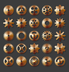 3d metal cogwheel set isolated on dark background vector image