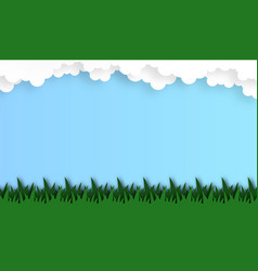 Abstract grass field with cloud background paper vector