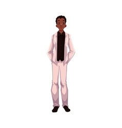 African American groom fiance just married man vector