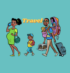African family travelers mom dad and kids vector