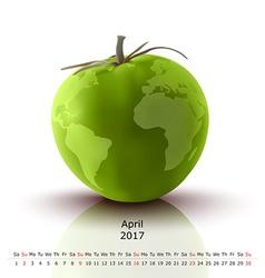 April 2017 tomato calendar vector