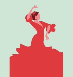 Beautiful spanish flamenco dancer wearing elegant vector