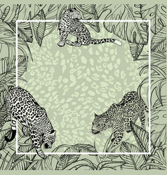 Big wild cats banner background with tropical vector