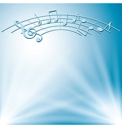 blue background with white lights and music notes vector image