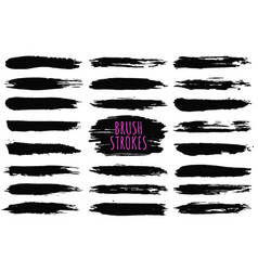 brush strokes collection hand drawn strokes vector image