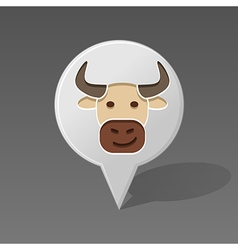 Bull pin map icon Animal head vector image