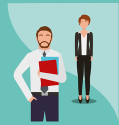 business man and woman team work people business vector image