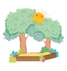camp landscape with cute sun vector image