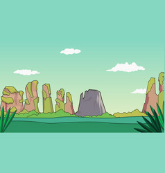 cartoon nature landscape with mountains and sky vector image