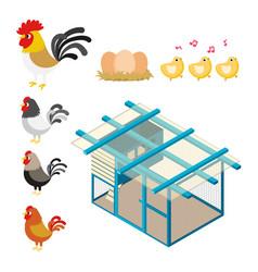 chicken coop set vector image