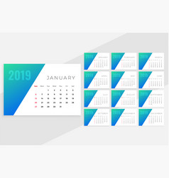 clean minimal blue monthly calenday design vector image