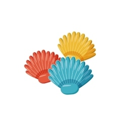 Colorful seashells icon cartoon style vector
