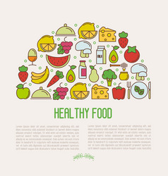 concept of organic food with thin line icons vector image
