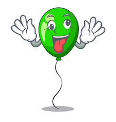 Crazy green balloon on character plastic stick vector