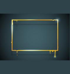 creative golden melting frame 3d flowing art flux vector image