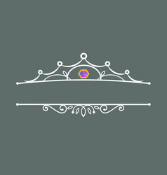 Crown decoration with the gem vector