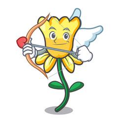 cupid daffodil flower character cartoon vector image