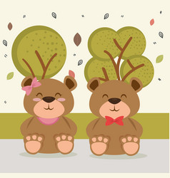 cute bears couple animal characters vector image