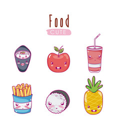 Cute food kawaii cartoons vector
