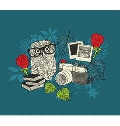 Cute owl and old photos vector image
