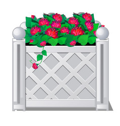 decorative fence with red flowers vector image