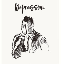 Depressed man emptiness lonelinessn a drawn vector